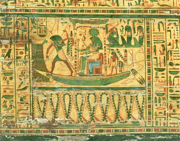 The journey of the Sun god Re, detail from the inner coffin of Nespawershefyt, Egyptian, Third Intermediate Period, 990-969 BC (plastered and painted wood) (see also 76535)