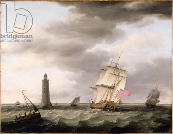 A Man of War passing the Eddystone Lighthouse, c.1773 (oil on canvas)