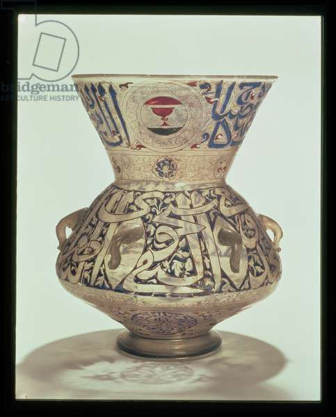 C.4-1949 Mosque lamp, Syrian or Egyptian, Mamluk period, c.1350 (enamelled glass)