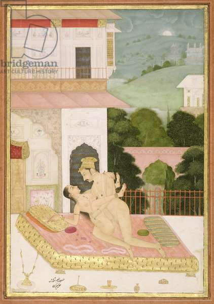 The private pleasure of Raja Todor Mal: the couple make love on a balcony, against a background of marble inlaid walls by Kem Karan, Bikaner, Rajasthan, Rajput School, c.1678-98, (gouache on paper)