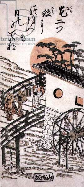 Actors on a Bridge at Sunrise, possibly Yodo Castle, between Kyoto and Osaka, c.1757-62 (woodblock print)