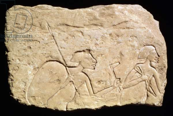 Relief depicting two soldiers, New Kingdom, c.1353-1335 BC (limestone)