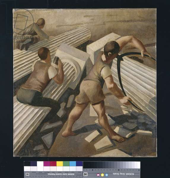 Making columns for the Tower of Babel, 1933 (oil on canvas)