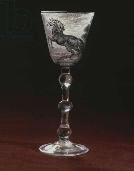 C.8-1963 Goblet engraved with a prancing horse by Frans Greenwood (1680-1762) c.1730 (glass)