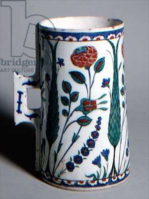 C.1-1950 Isnik Tankard, Turkish, late 16th century (earthenware)