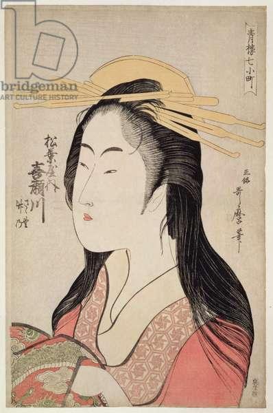 Kisegawa of Matsubaya, from the series 'Seven Komachis of Yoshiwara', c.1795 (woodblock print)