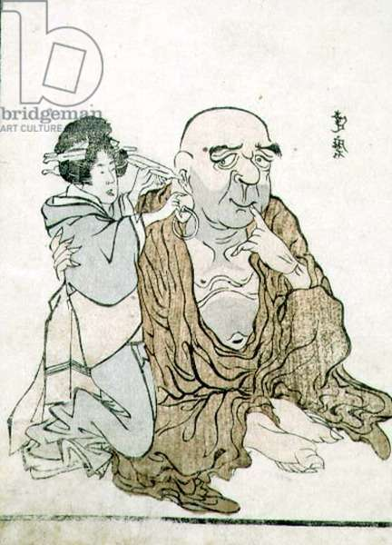 T H Riches 1913 Immortal Having his Ears Cleaned, c.1815 (woodblock print)