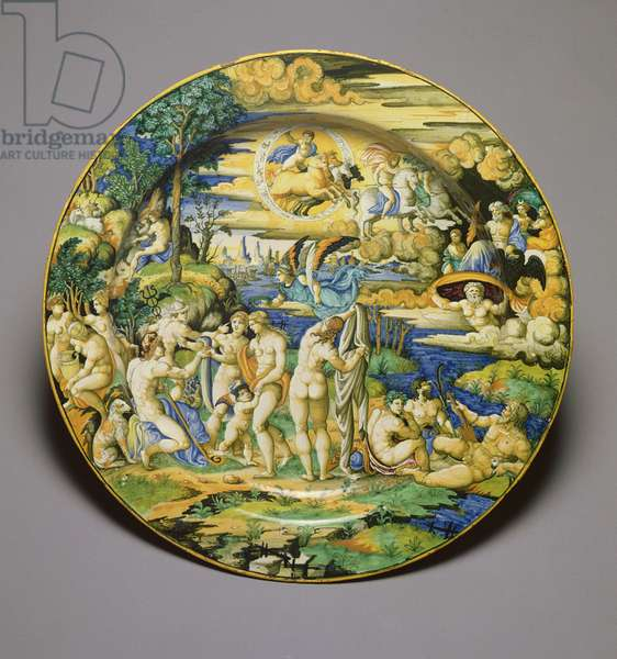 C.59-1927 Dish depicting the Judgement of Paris, c.1544-50 (tin glazed earthenware)