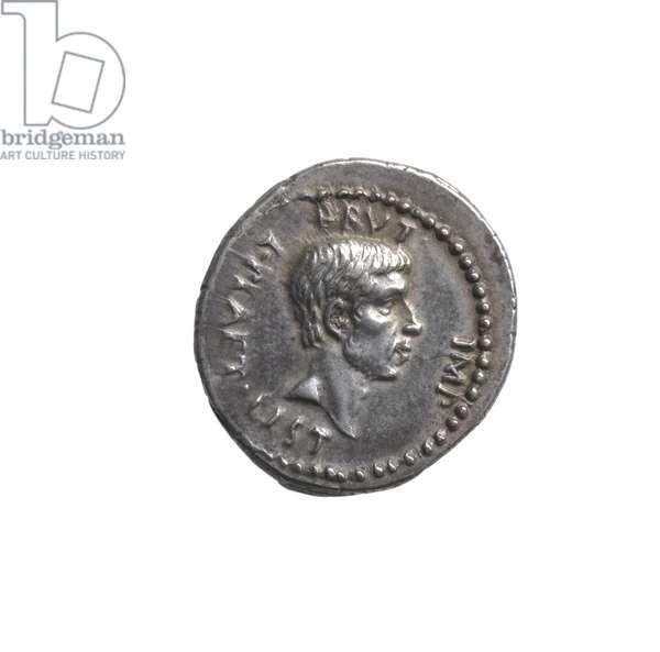 Denarius depicting the head of Brutus (silver)