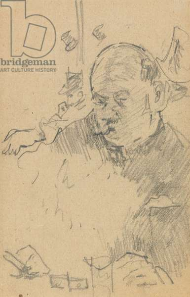 Mustachioed man seated, drinking in a bar with two other men in hats (graphite on paper)