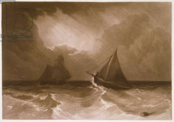 R.808b Ship and Cutter, from the 'Little Liber', engraved by the artist, c.1826 (mezzotint)