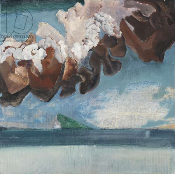 Volcano and white bird, Iceland, 1974-75, panel 3, 1974-75 (oil on canvas)
