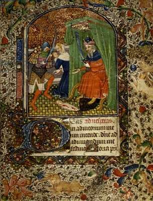 Ms 52 f.26r The Massacre of the Innocents, from a Book of Hours, c.1460 (vellum manuscript)
