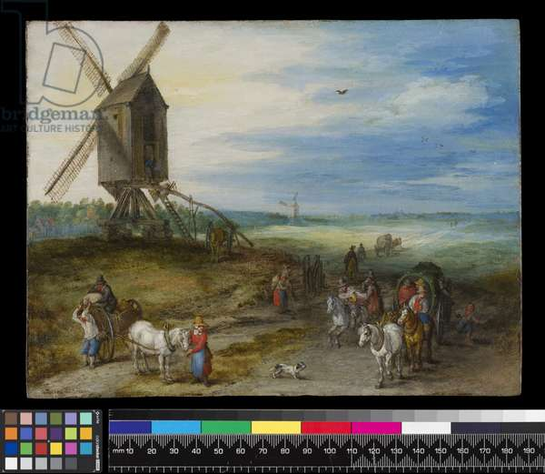 Landscape with mill and carts, c.1611 (oil on copper)