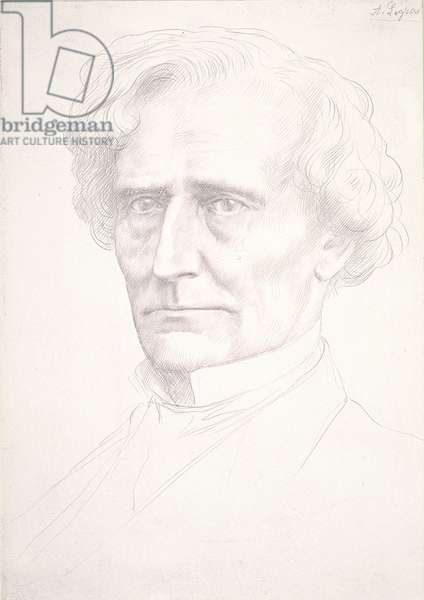 Portrait of Hector Berlioz (gold point on pink prepared paper)