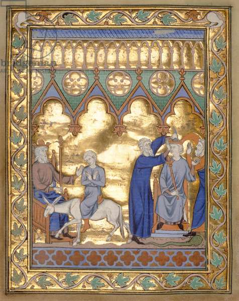 Ms 300 f.5v Coronation of Solomon, from the Psalter and Hours of Isabella of France, Paris, c.1260 (gold leaf on tempera on parchment)