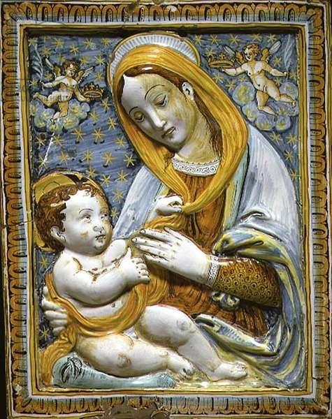 C.2200-1928 Madonna and Child, maiolica panel from Deruta, mid 17th century (tin glazed earthenware)