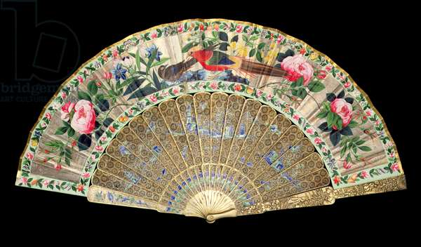M.361-1985 Folding Fan, depicting exotic pheasants amid flowers, Chinese, Macao, c.1850 (w/c & sticks of silver gilt & enamel)