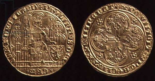 Philip the Bold, Duke of Burgundy, a gouden schild of his first coinage, 1384 (gold)