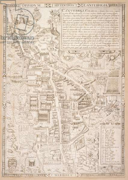 Map of Cambridge, from Caius 'Historia Cantabrigensis Academia', 1574 (engraving)
