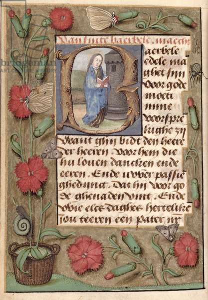 Ms McClean 93 f.159v Page with floral border and text with historiated initial 'B' depicting St. Barbara reading, from a Book of Hours, Flemish, 15th century