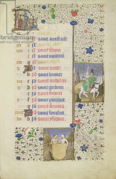 Man and Woman on a Horse Carrying Green Boughs, Gemini, Calendar Page for May, from a French Horae, c.1480 (vellum)
