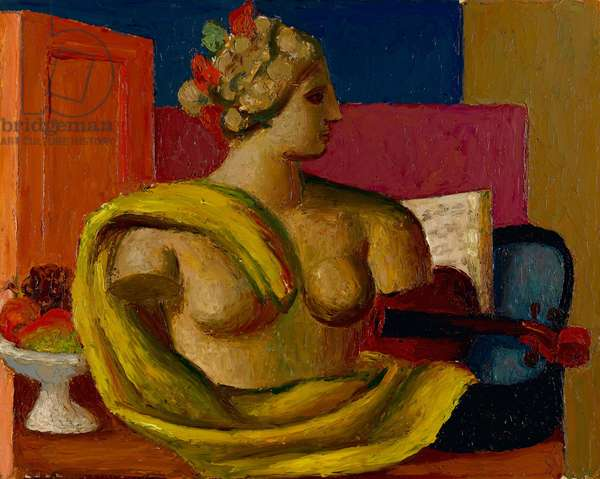 Violin and Bust, c.1934 (oil on millboard)
