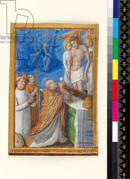 Leaf from a Book of Hours: The Mass of St Gregory, c.1485-94 (parchment)