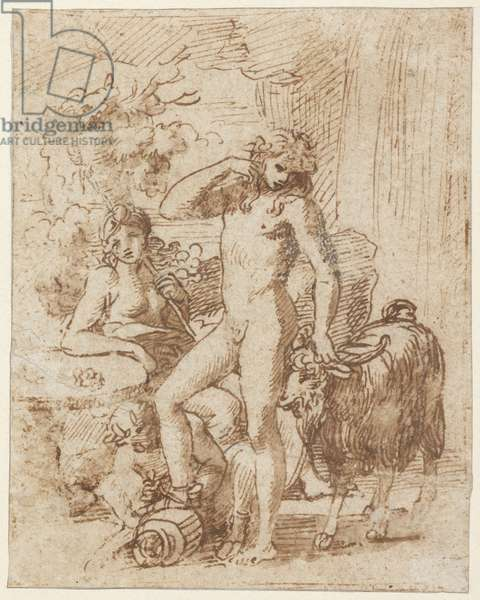 Bacchus and Erigone (pen & ink with wash on paper)
