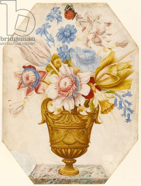 Flowers in a vase which stands on a marble ledge with a butterfly resting on the flower (w/c & gouache on vellum)