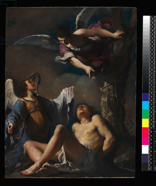 St. Sebastian succoured by two angels, 1617 (oil on copper)