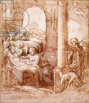 PD.119-1961 The Nativity, c.1522 (pen & ink, wash and chalk)
