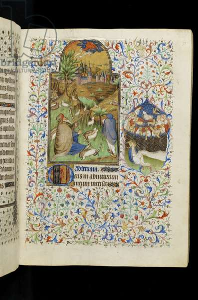 MS 62 f.71r Tierce of the Virgin: Angel appearing to the shepherds, from a Book of Hours (vellum)