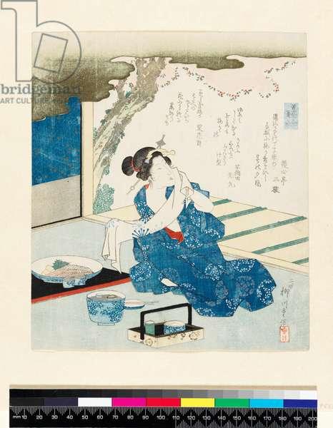 P.553-1937 Summer clothing from the incense matching series by Suzuki or Yanagawa Shigenobu (1784-1832), mid 19th century, Japanese, (colour woodblock print)