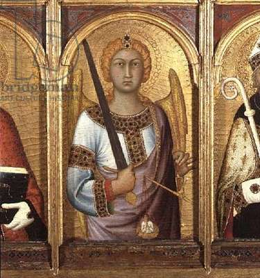 St. Michael, detail from the altarpiece of SS Geminianus, Michael and Augustine, c.1319 (tempera with gold and silver on panel) (detail of 58835)