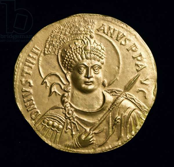Copy of the Great Gold Medal of Justinian I (527-65 AD) obverse, c.534 AD (electrotype) (see 257495)