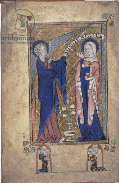 Ms 242 Folio 2v, Annunciation to the Virgin, from the Grey-Fitzpayne Hours (vellum)