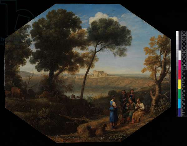 Pastoral landscape with a view of Lake Albano and Castel Gondolfo, 1639 (oil on tin)