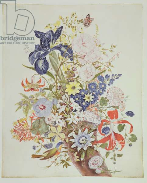 PD.915-1973 Mixed flowers in a cornucopia, c.1768 (w/c and gouache on vellum)