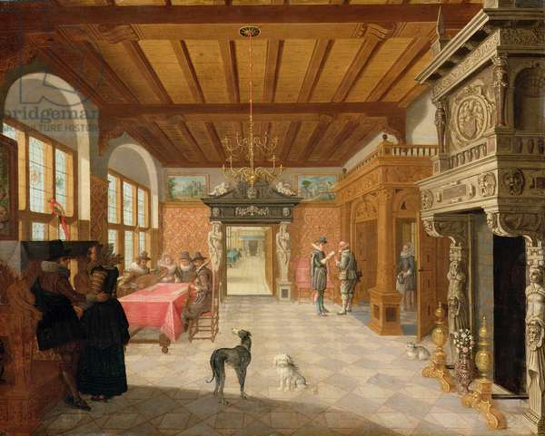 Interior of a Hall with Figures, 1621 (oil on panel)