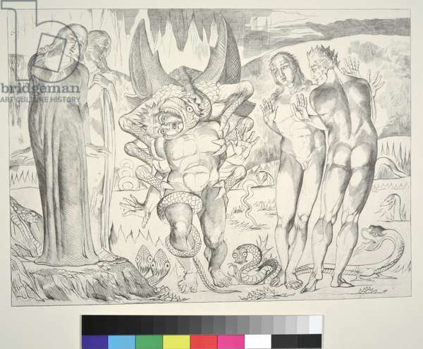 The Circle of the Thieves: Agnolo Brunelleschi Attacked by a Six-Footed Serpent, Inferno, Canto XXV, illustration to the 'Divine Comedy' by Dante Alighieri, 1838 (engraving)