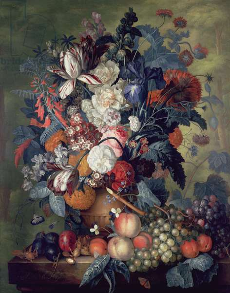 A Vase of Flowers with Fruit (oil on canvas)