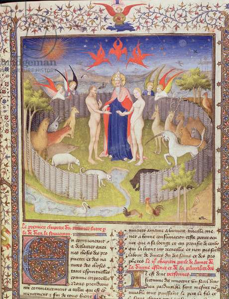 Ms 251, f.16r: The marriage of Adam and Eve from 'Des Proprietes De Choses', c.1415 (gold leaf, gold ink & tempera on parchment) (detail of 276966)