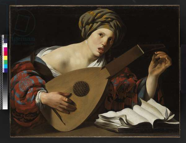 Young woman tuning a lute, c.1626-27 (oil on canvas)