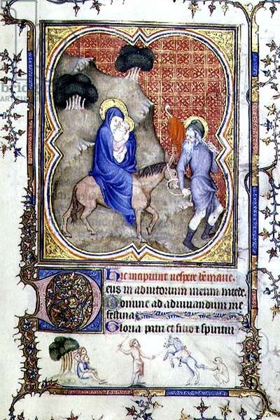 MS 3-1954 f.21r The Flight into Egypt, from a Book of Hours written and illuminated in France for Philip the Bold, Duke of Burgundy (1342-1404) 14th century (vellum)