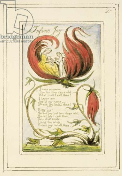 P.124-1950.pt25 Infant Joy: plate 25 from Songs of Innocence and of Experience (copy R) c.1802-08 (etching, ink and w/c)