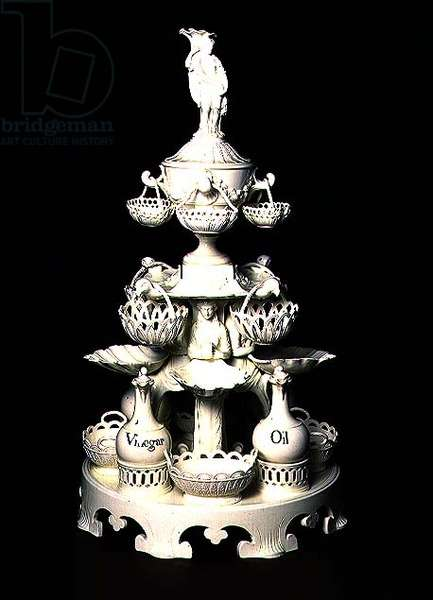 Dining table centrepiece, probably made in Leeds Pottery, c.1780-1800 (creamware with black enamel lettering)