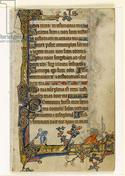 MS 1-2005, fol. 174r: David and Goliath, marginal decoration from the Macclesfield Psalter, Use of Sarum, East Anglia, c.1330 (vellum)