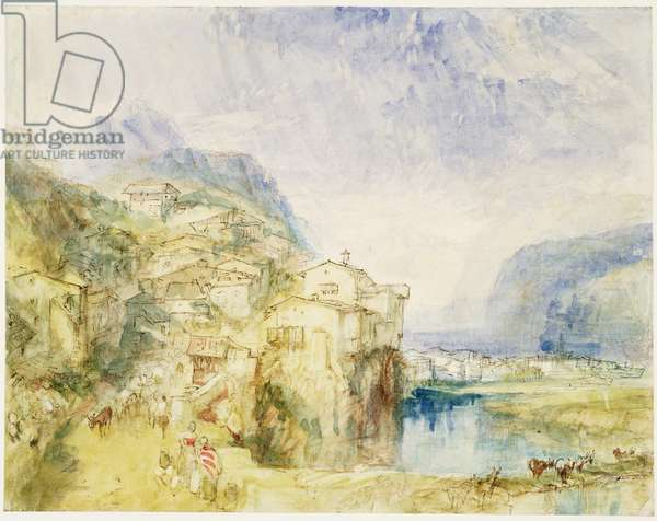 No.0584 Brunnen, with Lake Lucerne in the distance, c.1842 (w/c and ink)