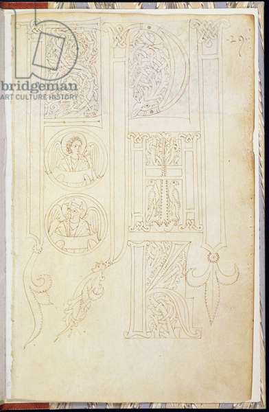 MS 83-1972 f.3r Outline designs for capital letters showing 'P','H' and 'K' from a Model Book of Initials, Italian, c.1200 (vellum)